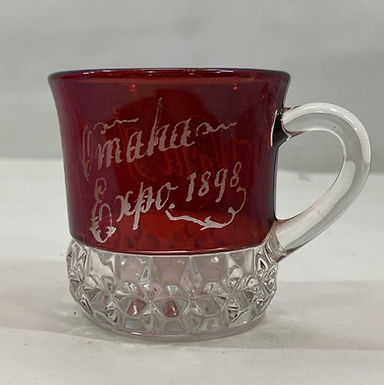 1898 Souvenir Glass Trans-Mississippi Omaha Expo Ruby Red