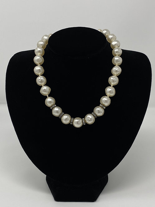 Vintage Faux Pearl Necklace with Clip Earrings