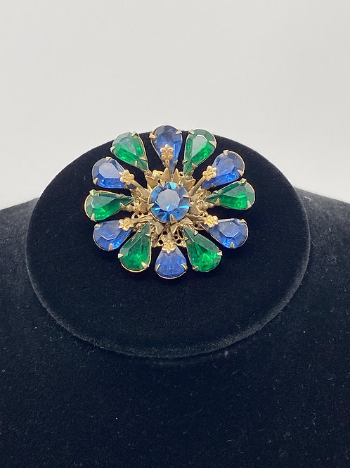 Dark Emerald Green and SapphireBlue Rhinestone Brooch