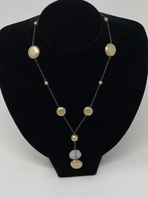 Faux Pearl Necklace with Two-Tone Drop