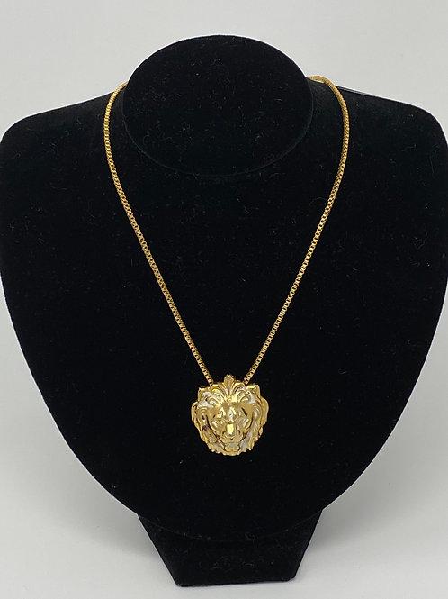 AnneKlein Lion Head Leo Zodiac Necklace