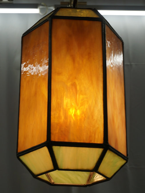 Pendant Light Fixture With Stained Glass Shade