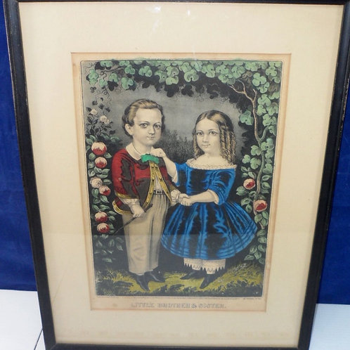 """Late 1800s Currier and Ives Framed Print """"Little Brother & Sister"""""""