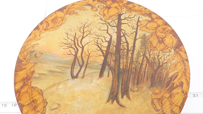 Painting Of Trees On A Pyrography Wooden Plaque