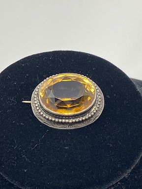 Victorian Citrine Amber Hued Golden-Faceted Oval Sterling