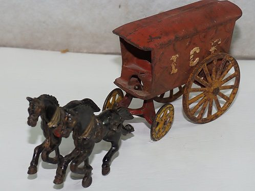 Cast Iron Horse Drawn Ice Wagon Toy