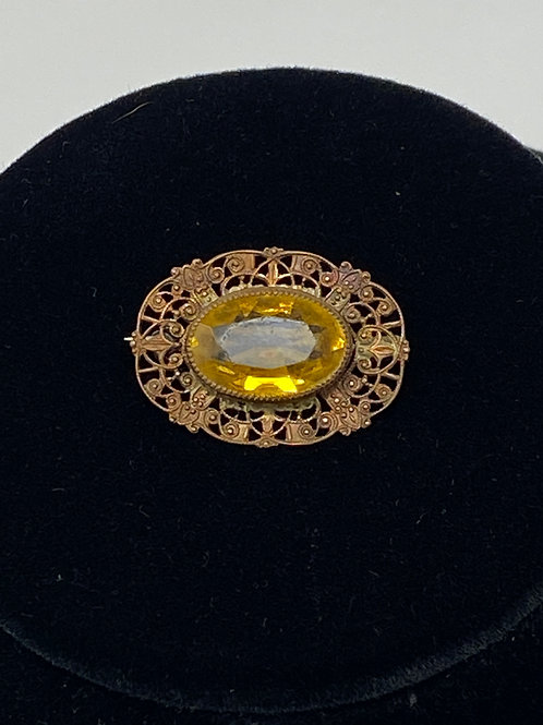 Victorian Citrine Small Oval Filigree Brooch