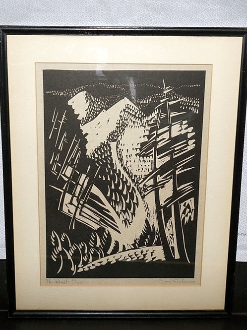 Linocut Signed Print - The West By Dana Mcgowan 9-3/8in W X 13-1/8 H