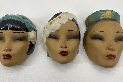 Vintage 1930s Dorothy Margot English Hand Painted Miniature Masks