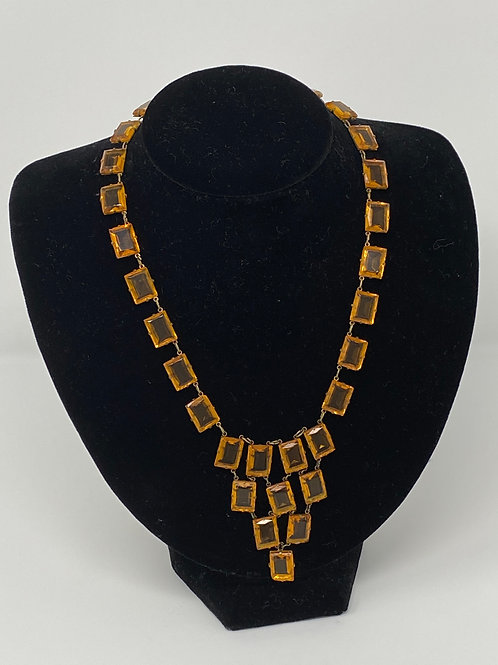 Ca 1920 Topaz Amber Unsigned Czech Pyramid Necklace