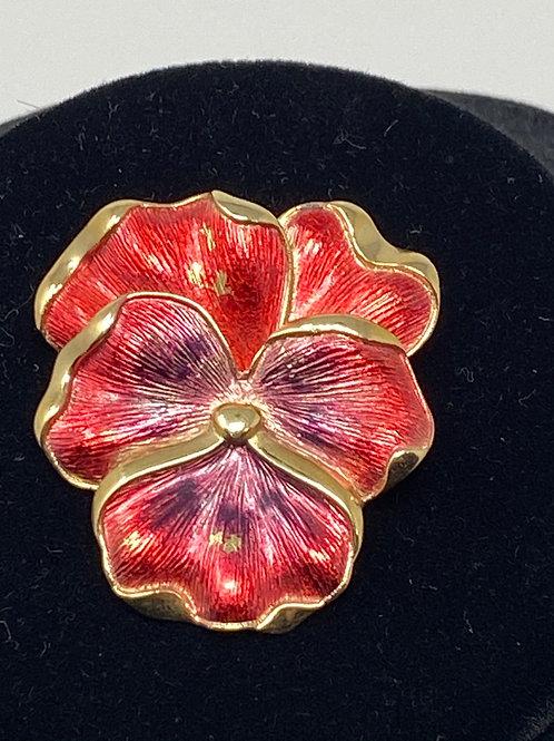 Trifari 1960s Enamel Pansy Flower Brooch