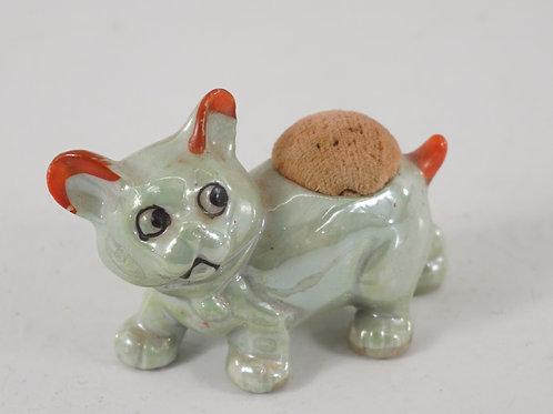 Ceramic Cat Sewing Pincushion - Occupied Japan