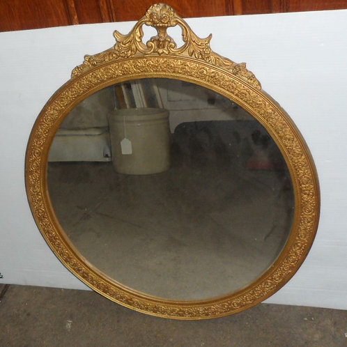 Round Mirror with Wood and Plaster Frame