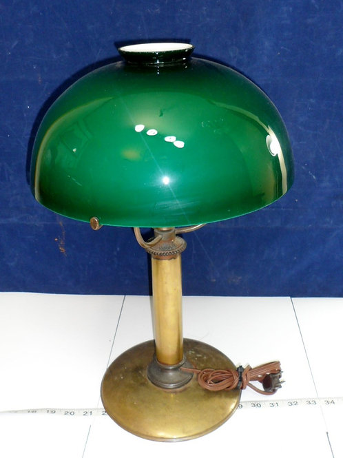 Electric Converted Student Lamp With Green Cased Shade
