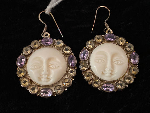 Bone and Amethyst Earrings with Carved Face