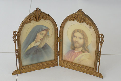 1890s Art Deco Christian Portraits Of Virgin Mary And Jesus