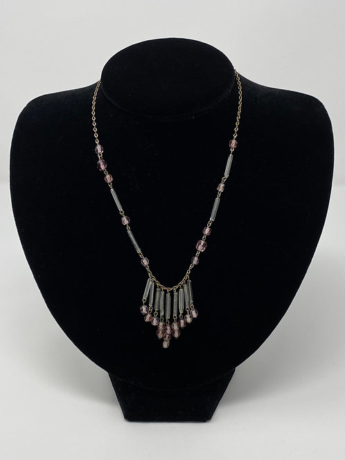 Vintage Fringed Necklace with Amethyst Colored Glass Beads