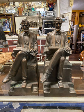 1920's Amor Bronze Lincoln Bookends Seated Reading Book
