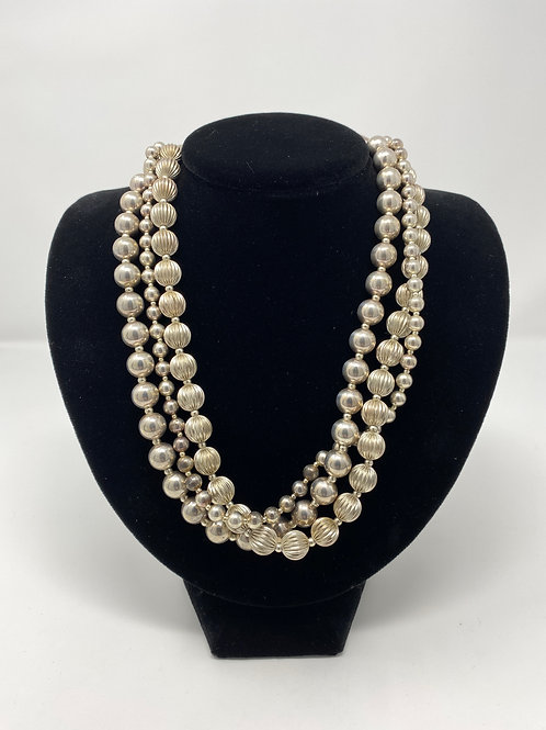 Vintage Silver Beads Three Strand Necklace