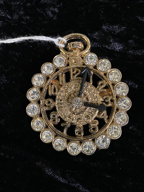 Vintage Rhinestone Pocket Watch Brooch