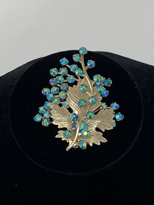 Aurora Borealis Glass Rhinestone Leaf Gold Tone Texture