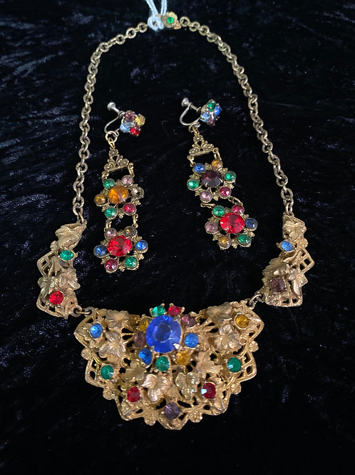 Vintage 1930s Set with Colorful Rhinestone Filigree Necklace and Clip Earrings