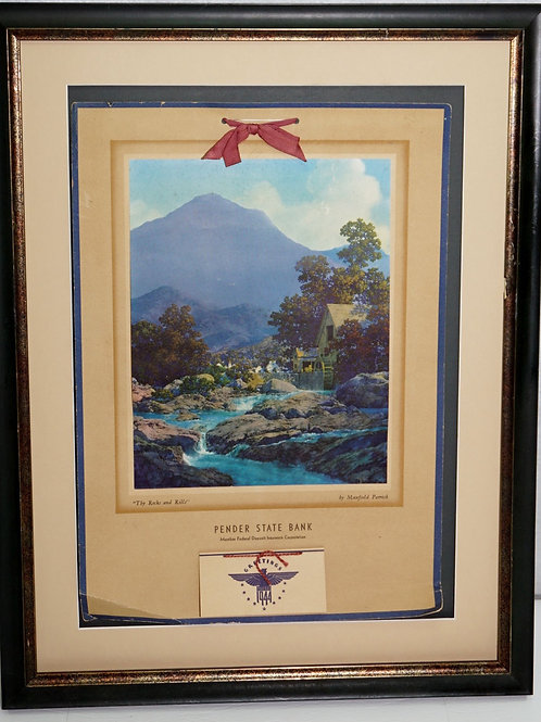 1944 Pender State Bank Calendar With Maxfield Parrish Print