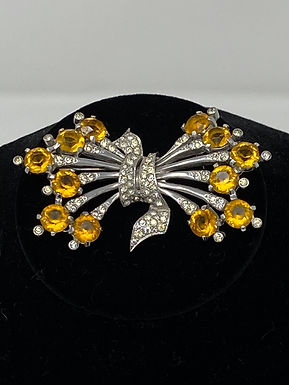 Brooch with Amber Topaz Glass Stone and Rhinestone