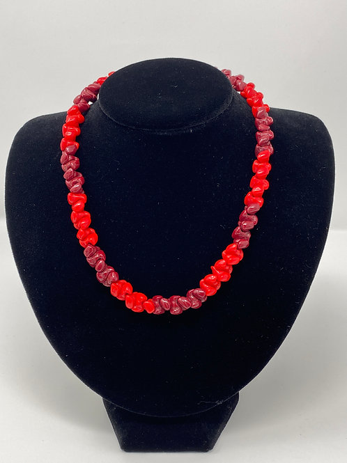 Glass Red and Burgandy Beaded Necklace with Barrell Clasp
