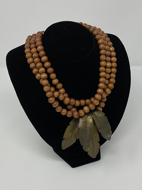 Fold-Over Brass-Tone Leaves with Wood Beads