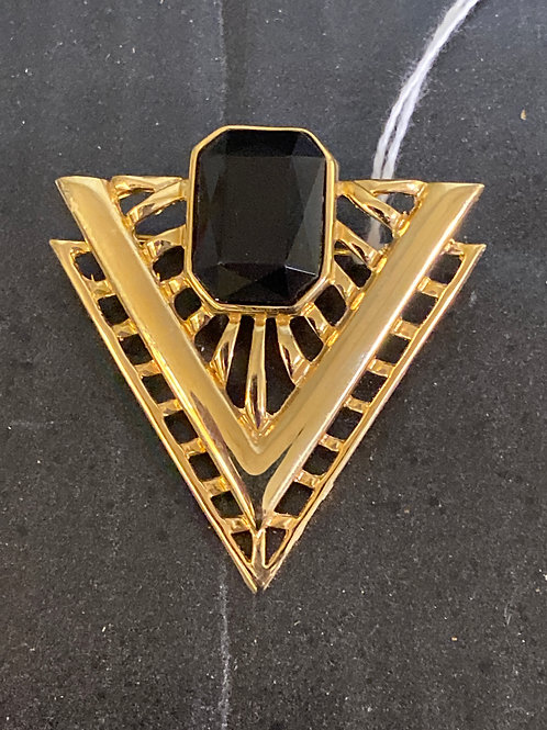 80s Brooch Black Onyx Gold Tone Vintage