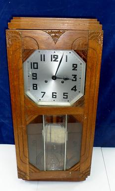 Art Deco Oak Wall Clock