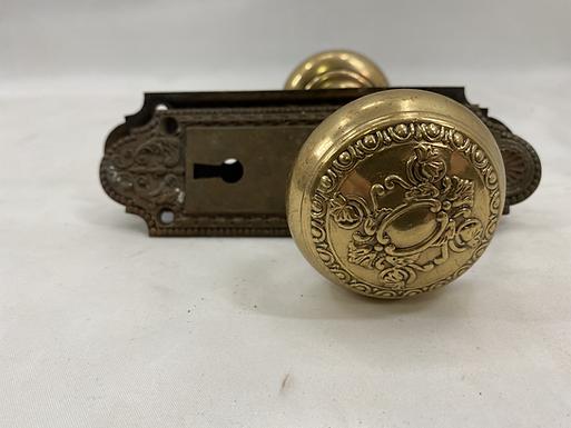 Brass Door Knob and Plate Set