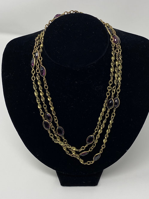 Vintage Flapper Style Open-back Purple Stone Spiral Brass Chain Necklace