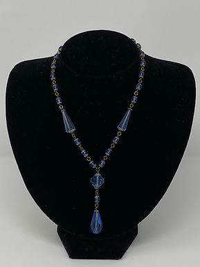 Art Deco Sapphire Crystal and Blue Bead  Necklace