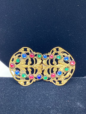 Belt Buckle with Colored Plastic Stones