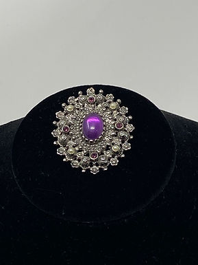 Sarah Coventry Purple Cabochon on Silver Tone