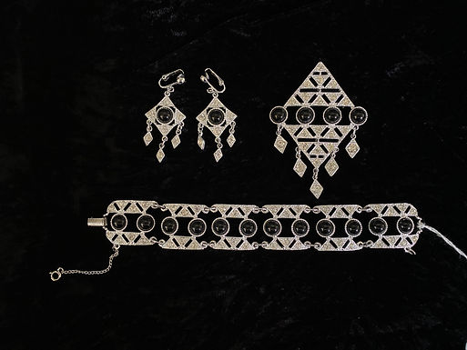 Vintage Sarah Coventry Art Deco Style Brooch, Bracelet and Earrings Set