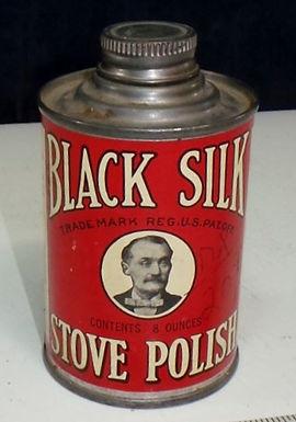 Black Silk Stove Polish Tin