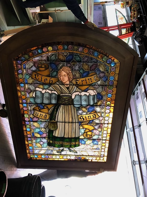 Beer Maiden Stained Glass Window