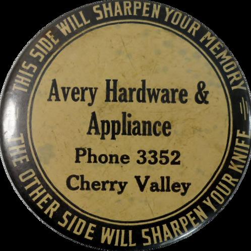 """Advertisement Knife Sharpener """"Avery Hardware & Appliance"""""""