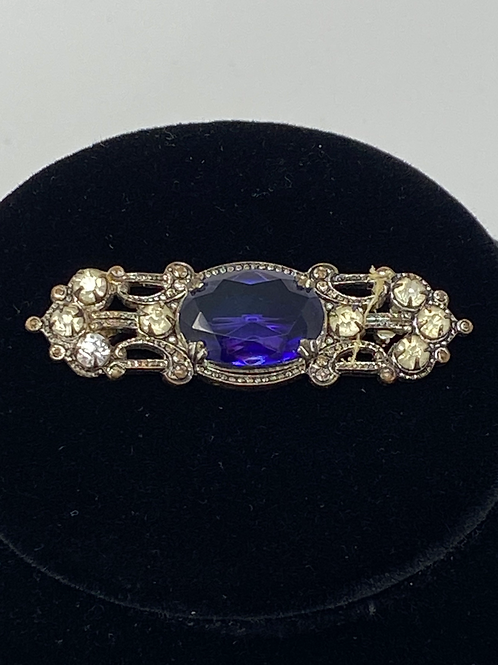Purple and Clear Rhinestone Brooch