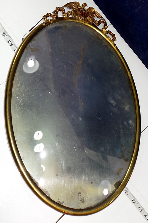 Oval Metal Frame With Eagle Ornament On Top
