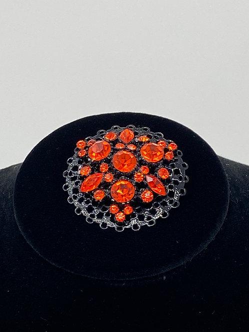 Vintage Red-Orange Rhinestone Brooch