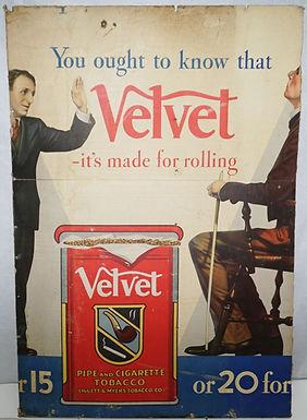 Velvet Cigarette Advertising Sign
