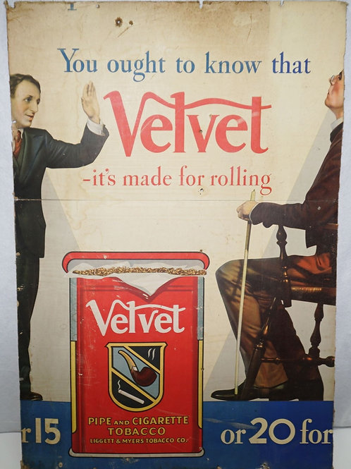 Velvet Cigarette Advertising Sign