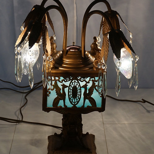 Early 1920s Table Lamp - Art Deco Style With Stained Glass