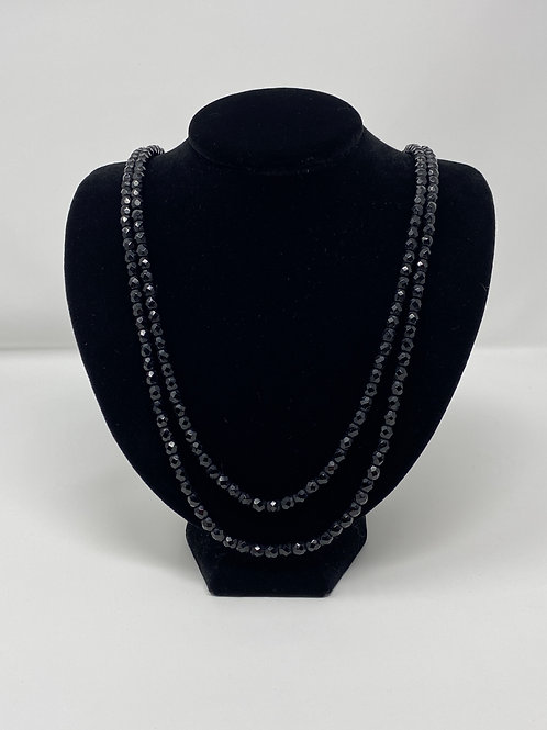 Jet Black Crystal Necklace