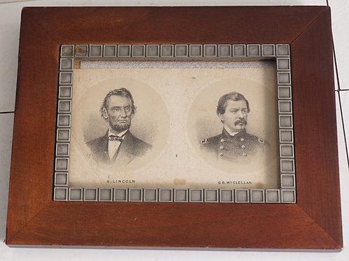 Framed Civil War Photograph - A Lincoln And G B Mc Clellan