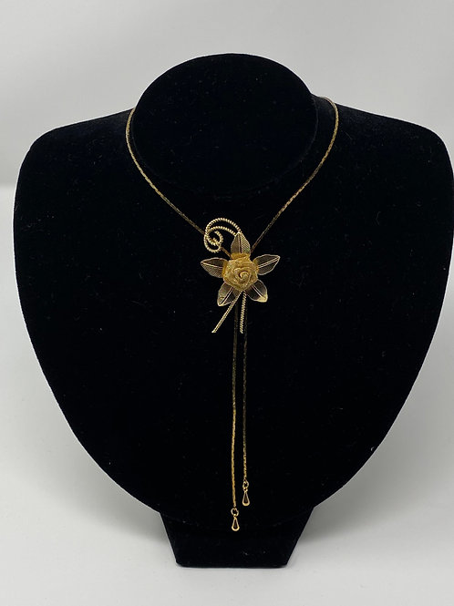 Mesh Rose Bolo-Slide Pendant Necklace Gold Tone